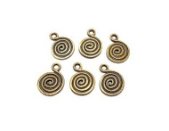 Antique Brass Plated Metal spiral charms