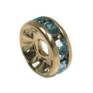 Aquamarine crystal gold plated rondelle 8mm spacer