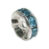 Aquamarine crystal silver plated rondelle 8mm spacer