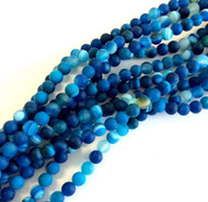 Blue Natural matte Agate effloresce quartz Gemstone beads