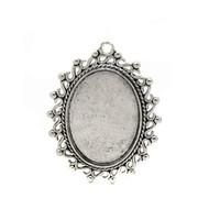 Cabochon Antique Silver Oval Metal Pendant