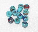 Czech Aqua multi  large hole Roller disk glass beads 9mm