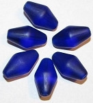 Czech Bicone Cobalt Blue matte glass beads PKG 12PCS
