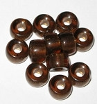 Czech brown large hole Roller disk glass beads
