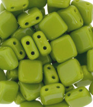 Czech Glass Opaque Olive 6mm 2-Hole Tile Bead 25pcs