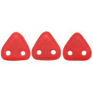 Czech Glass Triangle 2Hole 6mm Matte Op Red 7 Gram