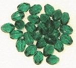 Czech Oval faceted Emerald fire polished  beads