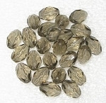 Czech Oval faceted Gray fire polished  beads
