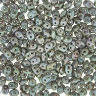 Czech Superduo 2.5x5mm Chalk Lazure Blue glass Beads