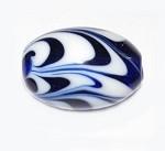 Fine Oval Feather Murano Venetian glass bead.