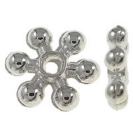 Flower Spacer Beads Silver Plated