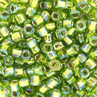 Japanese Silver Lined Light Peridot AB Glass Seed beads