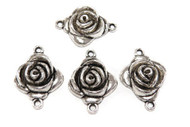 Rose Bud Antique Silver plated connectors