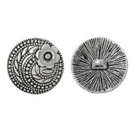 Round Antique Silver Round Button 2PCs