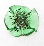 Translucent Emerald Bohemian glass flower copper bead