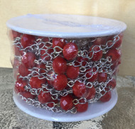 Candy Red Crystal Beaded Silver Plated Chain Spool