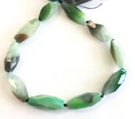 green multi elongate Natural agate Gemstone Beads