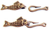 Antique Copper Fish Hook hand forged clasp