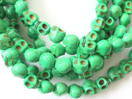 Gemstone natural skull green Beads