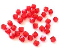 4mm Siam Preciosa Czech Crystal Bicone Beads