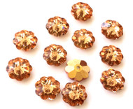 10mm Capri Gold Preciosa Czech Crystal Flower Beads