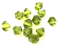 8mm  Olivine Preciosa Czech Crystal Bicone Beads