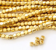 Authentic natural Faceted Square Brass  spacer Beads