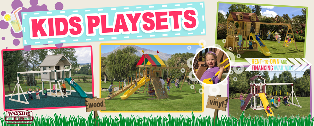 Kids playsets at Wayside Lawn Structures in Columbiana, Ohio
