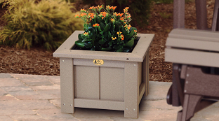 Poly Vinyl Planters and footrests at Wayside Lawn Structures in Ohio