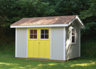 """8x12 Aurora. SmartSide siding in Ocean Mist with Soft White and Lemon accents, Cottage Stall doors and a 24""""x36"""" aluminum window."""