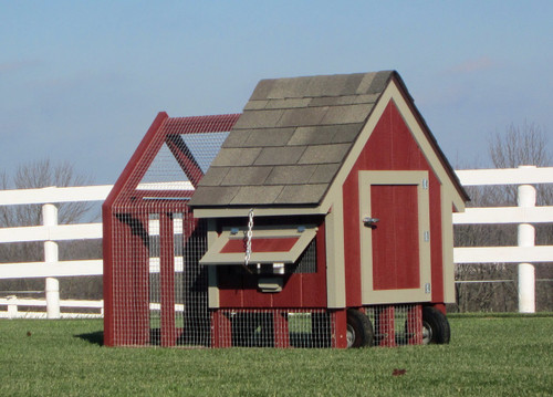 "32""x64"" Chicken Coop with Outside Run w/ wheels"