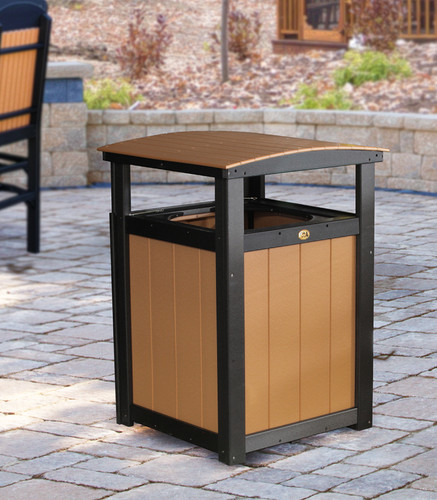 Cedar & Black Poly Trash Can