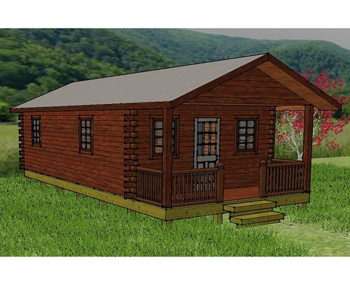 Hunter deluxe low profile log cabin wayside lawn structures for Cabin kits california