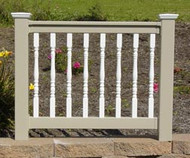 Colonial Adobe Railing With White Accents | Wayside Lawn Structures