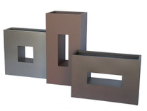 Horizonal Box Planter Grouping - Material : Aluminum - Finish : Silver, Rust and Bronze