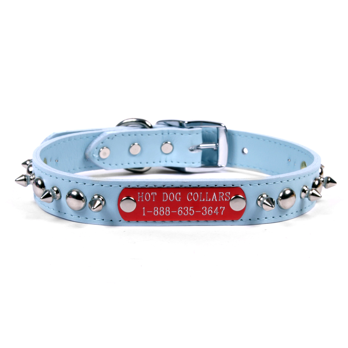 Hot Dog Spiked and Studded Leather Personalized Name Plat...