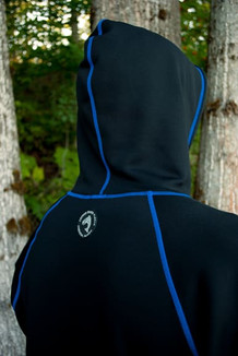 MEN'S HOODIE / Solid Black (Blue thread)