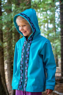 BEACHBERRY JACKET / (Softshell)  / Tide Pool, / Bear Tracks-Purple (trim)