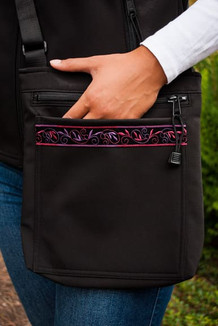 SHOULDER BAG / (Softshell) /   Black,  / Velvet-Plum (trim)