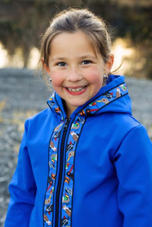 BEACHBERRY JACKET / (Softshell) / Pacific Blue, / Alaska Chatter-Cobalt(trim)
