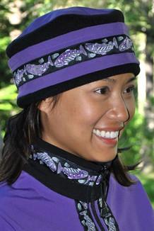 AURORA HAT / (Softshell) / Lupine, Black,  / Salmon-Purple (trim)