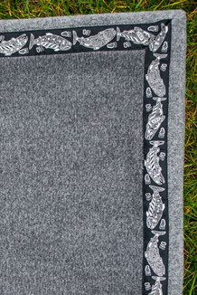Blanket - 5' x 5'  / (Double-Sided Thermal Fleece) / Charcoal Heather / Salmon-Grey (trim)