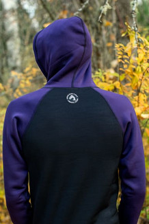 MEN'S HOODIE / Black, Dark Purple