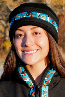 AURORA HAT / (Softshell) / Solid Black,  / Alaska Chatter-Teal (trim)