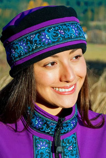 AURORA HAT / (Softshell) /  Razzlberry, Black,  / Wild Geranium (trim)