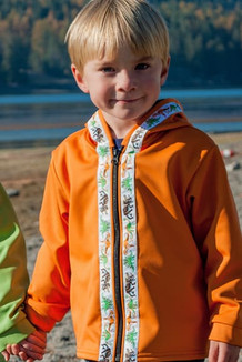 BEACHBERRY JACKET / (Softshell) / Orange, / Dinosaur (trim)