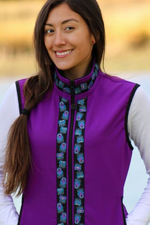 WOMEN'S GLACIER VEST / (Softshell) /  Razzleberry / Bear Tracks-Purple (trim)