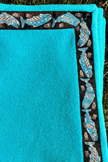 BLANKET - 5' x 5'  / (Double-Sided Thermal Fleece) / Glacier Aqua, / Salmon-Sky (trim)