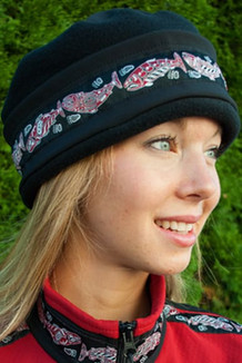 AURORA HAT / (Softshell) / Solid Black,  / Salmon-Red (trim)