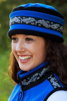 AURORA HAT / (Softshell) / Pacific Blue, Black,  / Salmon-Grey (trim)